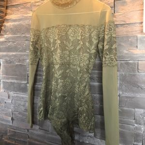 Guess Other - Guess green lace see through bodysuit